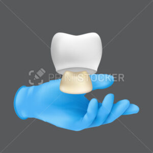 Dentist hand wearing blue protective surgical glove holding a ceramic model of the tooth. 3d realistic vector illustration of a crown on teeth concept isolated on a grey background - PrintStocker.com
