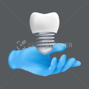 Dentist hand wearing blue protective surgical glove holding a ceramic model of the tooth. 3d realistic vector illustration of dental implants concept isolated on a grey background - PrintStocker.com