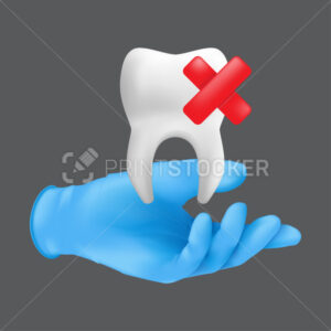 Dentist hand wearing blue protective surgical glove holding a ceramic model of the tooth. 3d realistic vector illustration of teeth extraction concept isolated on a grey background - PrintStocker.com