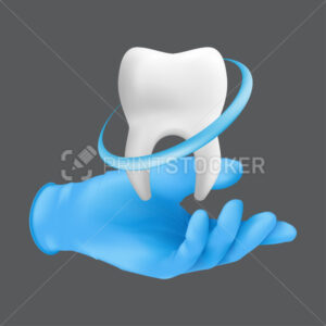 Dentist hand wearing blue protective surgical glove holding a ceramic model of the tooth. 3d realistic vector illustration of teeth whitening concept isolated on a grey background - PrintStocker.com