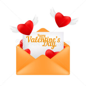 Envelope with a letter and flying red hearts with angel wings. Valentine's day greeting card concept vector illustration isolated on a white background - PrintStocker.com