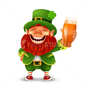 Funny laughing Leprechaun wearing cylinder with a shamrock flower and holding light beer glass. Vector mascot character illustration to Saint Patrick's Day celebrating isolated on a white background - PrintStocker.com