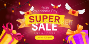 Happy Valentine's day special offer horizontal flyer template or advertising super sale banner design. Vector illustration of flying envelopes and gift boxes with ribbons on a red blurred background - PrintStocker.com