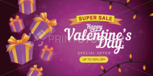 Happy Valentine's day special offer horizontal flyer template or advertising super sale banner. Vector illustration of flying gift boxes with yellow ribbons on a pink blurred background - PrintStocker.com