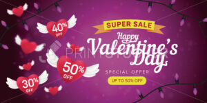 Happy Valentine's day special offer horizontal flyer template or advertising super sale banner. Vector illustration of flying red hearts with percents on a pink blurred background - PrintStocker.com