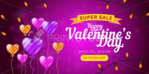 Happy Valentine's day special offer horizontal flyer template or advertising super sale banner. Vector illustration of flying striped balloons on a pink blurred background - PrintStocker.com