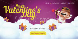 Happy Valentine's day special offer landing page template or advertising sale banner. Vector illustration of smiling and aiming cupid angel with a bow and a heart shaped arrow on cloudy background - PrintStocker.com