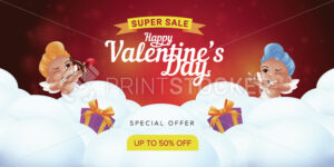 Happy Valentine's day special offer landing page template or super sale promotion banner. Vector illustration of smiling and aiming little cupids with bow and heart shaped arrow on cloudy background - PrintStocker.com
