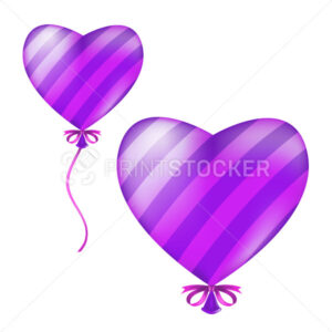 Heart shape striped balloon. Vector illustration of flying violet helium air ball with ribbon and bow isolated on a white background - PrintStocker.com