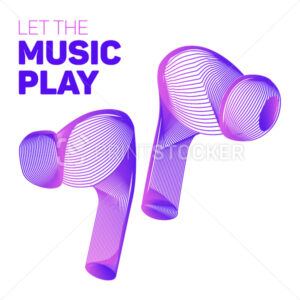 Let the music play. Outline vector illustration of wireless charging headphones or headset in 3d abstract neon line art style isolated on a white background - PrintStocker.com