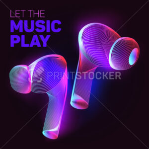 Let the music play. Outline vector illustration of wireless charging headphones or headset in 3d line art style on neon abstract background - PrintStocker.com
