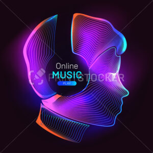Online music play. Outline vector illustration of human silhouette with wireless headphones in 3d line art style on neon abstract background - PrintStocker.com
