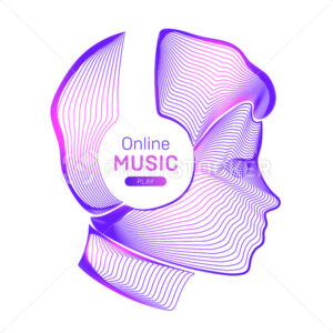 Online music play. Outline vector illustration of human silhouette with wireless headphones in neon line art style isolated on a white background - PrintStocker.com