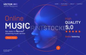 Online music streaming service landing page template with a high-quality rating. Abstract outlined vector illustration of a cyber human or android head silhouette in 3d neon line art style - PrintStocker.com
