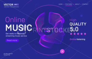 Online music streaming service landing page template with a high-quality rating. Abstract outlined vector illustration of a human silhouette on wireless headphones in 3d neon line art style - PrintStocker.com