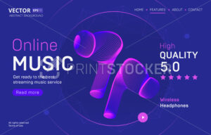 Online music streaming service landing page template with a high-quality rating. Abstract outlined vector illustration of charging wireless headphones silhouette in 3d neon line art style - PrintStocker.com