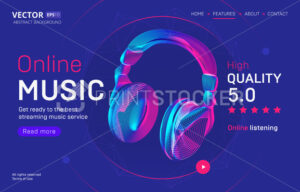 Online music streaming service landing page template with a high-quality rating. Abstract outlined vector illustration of wireless headphones silhouette in 3d neon line art style - PrintStocker.com