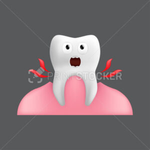 Pulling a screaming tooth out of the gum. Cute character with facial expression. Funny icon for children's design. 3d realistic vector illustration of dental ceramic model isolated on grey background - PrintStocker.com