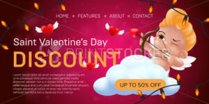 Saint Valentine's day discount landing page template or advertising special offer banner design. Vector illustration of aiming and smiling little cupid with flying hearts on a red blurred background - PrintStocker.com
