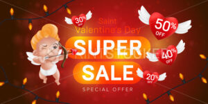 Saint Valentine's day special offer horizontal flyer template or advertising super sale banner design. Vector illustration of aiming cupid and flying red hearts with percents on blurred background - PrintStocker.com