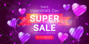 Saint Valentine's day special offer horizontal flyer template or advertising super sale banner design. Vector illustration of flying striped balloons with red ribbon on a pink blurred background - PrintStocker.com