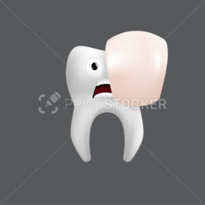Scared tooth with a porcelain veneer. Cute character with facial expression. Funny icon for children's design. 3d realistic vector illustration of a dental ceramic model isolated on a grey background - PrintStocker.com