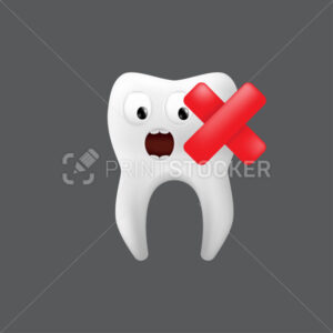 Scared tooth with a red cross on it. Cute character with facial expression. Funny icon for children's design. 3d realistic vector illustration of a dental ceramic model isolated on a grey background - PrintStocker.com