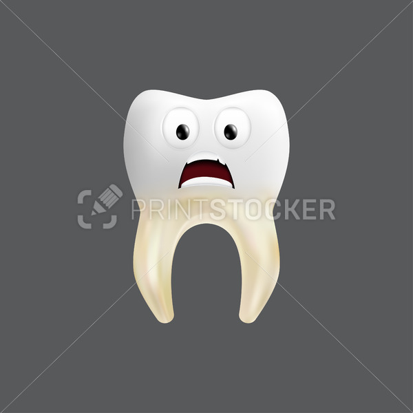Scared tooth with a tissue grafting. Cute character with facial expression. Funny icon for children's design. 3d realistic vector illustration of a dental ceramic model isolated on a grey background - PrintStocker.com