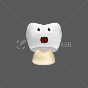 Scared tooth with crown installation. Cute character with facial expression. Funny icon for children's design. 3d realistic vector illustration of a dental ceramic model isolated on a grey background - PrintStocker.com