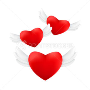 Set of flying red hearts with angel wings isolated on a white background - PrintStocker.com