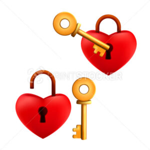 Set of locked and unlocked cartoon red heart shaped padlock with golden key isolated on a white background - PrintStocker.com