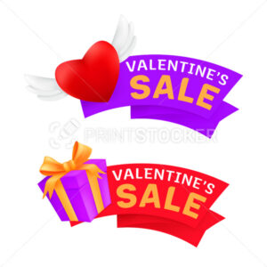 Set of marketing sale banners or promo labels to Valentine's Day celebrating with flying heart with angel wings and gift box wrapped golden ribbon isolated on a white background - PrintStocker.com