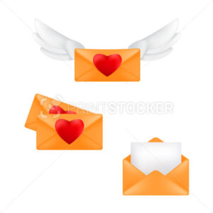 Set of yellow envelopes with heart stamps and angel wings isolated on a white background - PrintStocker.com