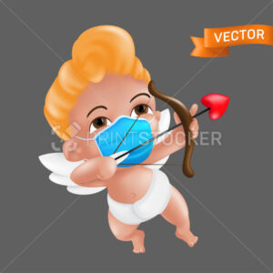 Shooting and aiming little cupid character with a bow and a heart shaped arrow. Vector illustration of a baby cherub mascot wearing a protective face mask and a diaper isolated on a grey background - PrintStocker.com