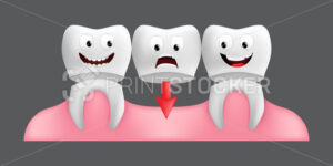 Smiling teeth with fixed bridgework. Cute character with facial expression. Funny icon for children's design. 3d realistic vector illustration of a dental ceramic model isolated on a grey background - PrintStocker.com