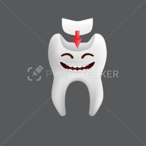 Smiling tooth with a filling. Cute character with facial expression. Funny icon for children's design. 3d realistic vector illustration of a dental ceramic model isolated on a grey background - PrintStocker.com