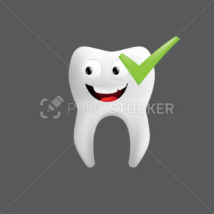 Smiling tooth with a green check. Cute character with facial expression. Funny icon for children's design. 3d realistic vector illustration of a dental ceramic model isolated on a grey background - PrintStocker.com