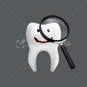 Smiling tooth with a magnifying glass. Cute character with facial expression. Funny icon for children's design. 3d realistic vector illustration of a dental ceramic model isolated on a grey background - PrintStocker.com