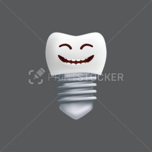 Smiling tooth with a metal implant. Cute character with facial expression. Funny icon for children's design. 3d realistic vector illustration of a dental ceramic model isolated on a grey background - PrintStocker.com