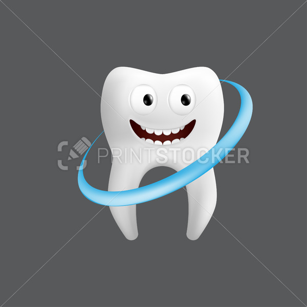 Smiling tooth with a whitening wave. Cute character with facial expression. Funny icon for children's design. 3d realistic vector illustration of a dental ceramic model isolated on a grey background - PrintStocker.com