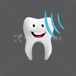 Smiling tooth with an ultrasound wave. Cute character with facial expression. Funny icon for children's design. 3d realistic vector illustration of a dental ceramic model isolated on a grey background - PrintStocker.com