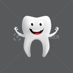 Smiling tooth with arms. Cute character with facial expression. Funny icon for children's design. 3d realistic vector illustration of a dental ceramic model isolated on a grey background - PrintStocker.com
