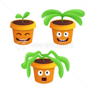 Stages of growth and wilting of a potted houseplant. Vector illustration with different flowerpot emotions isolated on white background - PrintStocker.com
