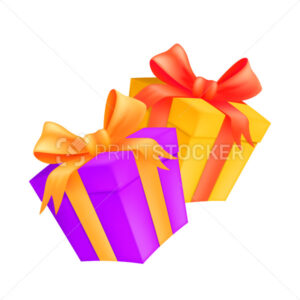 Two gift boxes with golden and red ribbons and bows. Vector illustration of wrapped carton presents isolated on white background - PrintStocker.com