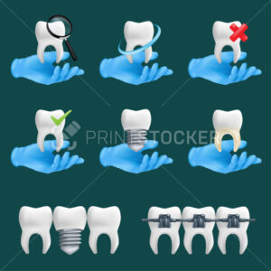 Dental icons vector set with different elements for various website services. 3d realistic illustration of a dentist's hands wearing blue protective surgical gloves holding a teeth ceramic models - PrintStocker.com