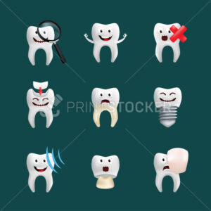 Smiling teeth vector set with different elements. Cute character with facial expression. Funny icons for children's design. 3d realistic vector illustration of emotional dental ceramic models - PrintStocker.com