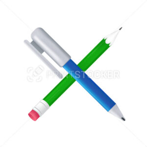 Blue pen and green pencil crossed. Crayon with an eraser and ballpoint pen icon. Vector illustration of stationery or office supplies isolated on a white background - PrintStocker.com