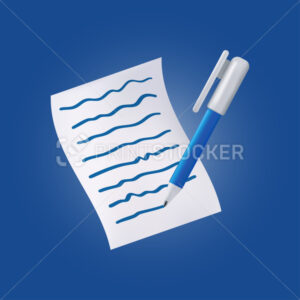 Blue pen on a document with text. Vector icon with a ballpoint pen and a white sheet of paper isolated on a dark background - PrintStocker.com