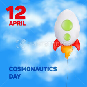 Greeting card to 12 April Cosmonautics Day. Vector illustration to the international day of the first human spaceflight with flying balloon in the form of a rocket on a blue sky with clouds - PrintStocker.com