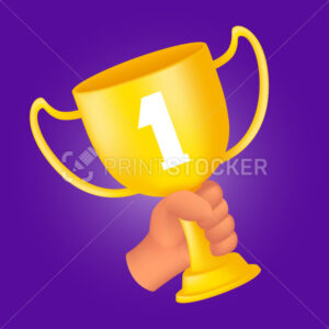 Human hand holding a golden trophy cup. 3D cartoon style vector illustration of the first rank winner award isolated on a violet background - PrintStocker.com